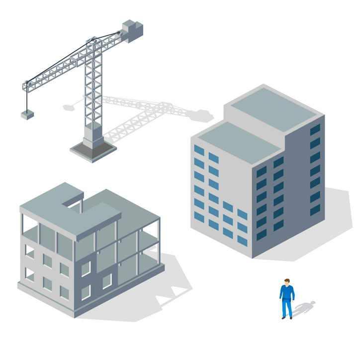 3D风格正在建设中的大楼图片免抠素材