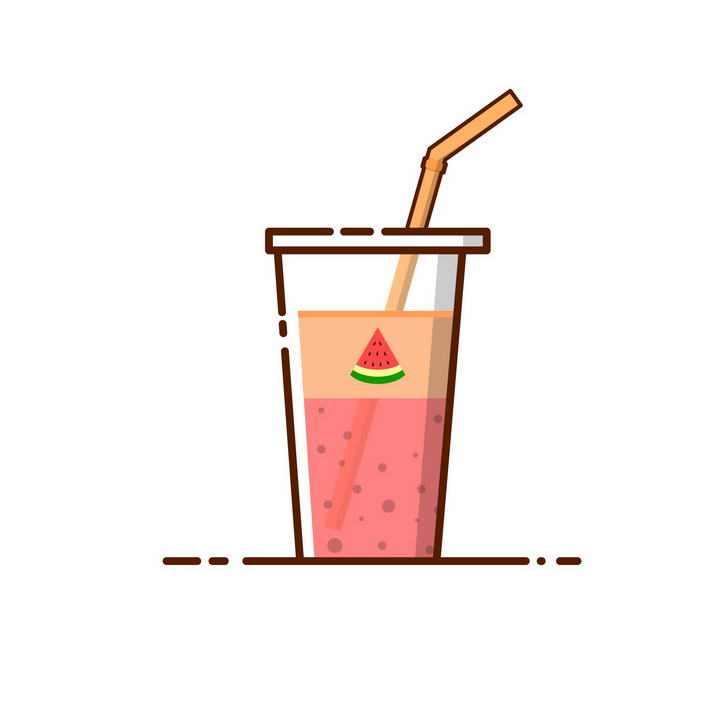 MBE风格西瓜汁果汁饮料吸管图片免抠素材