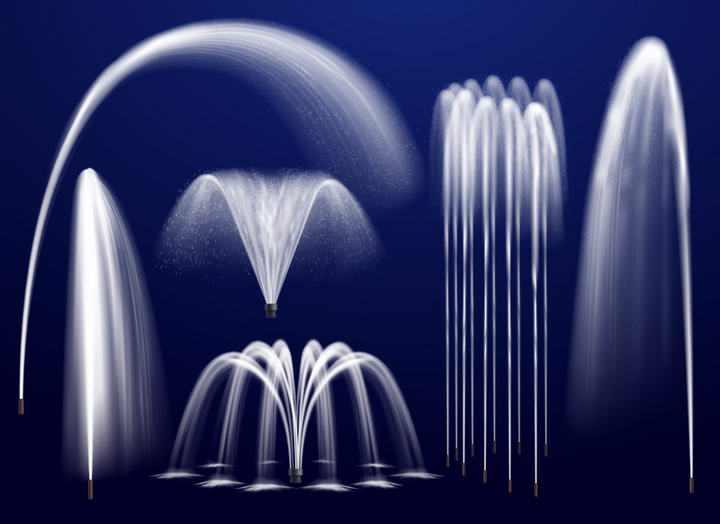 六款不同风格的喷泉水柱造型图片免抠素材