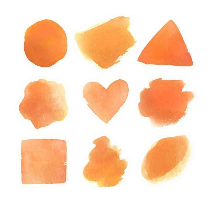 橙色橘色的水彩画风格涂鸦图片免抠素材