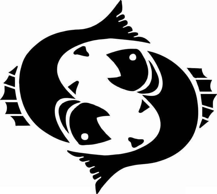 黑色剪影风格双鱼座星座图片免抠素材