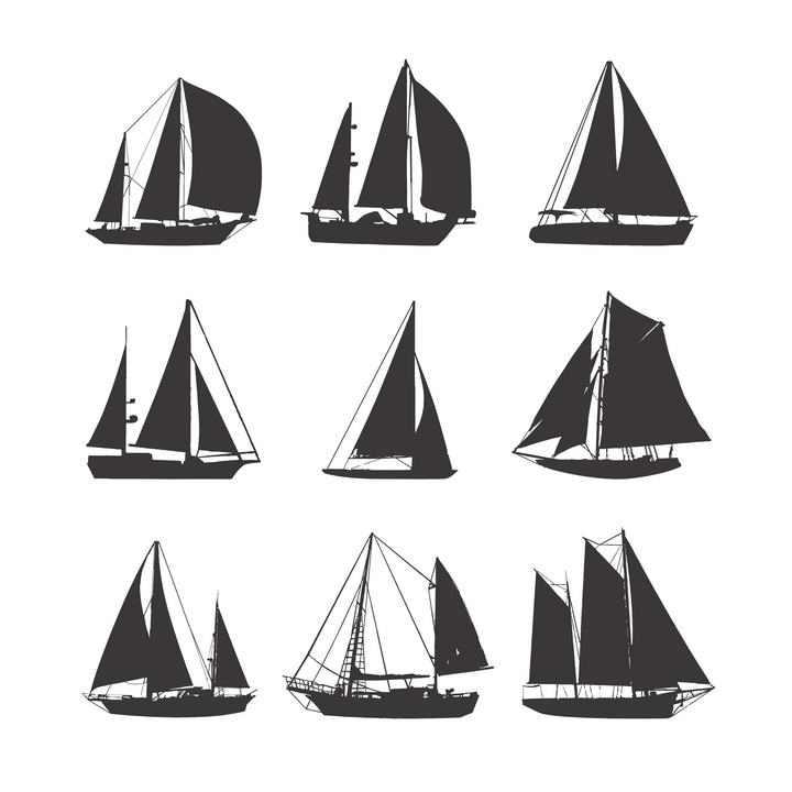 九款各种类型的帆船剪影图片免抠素材合集