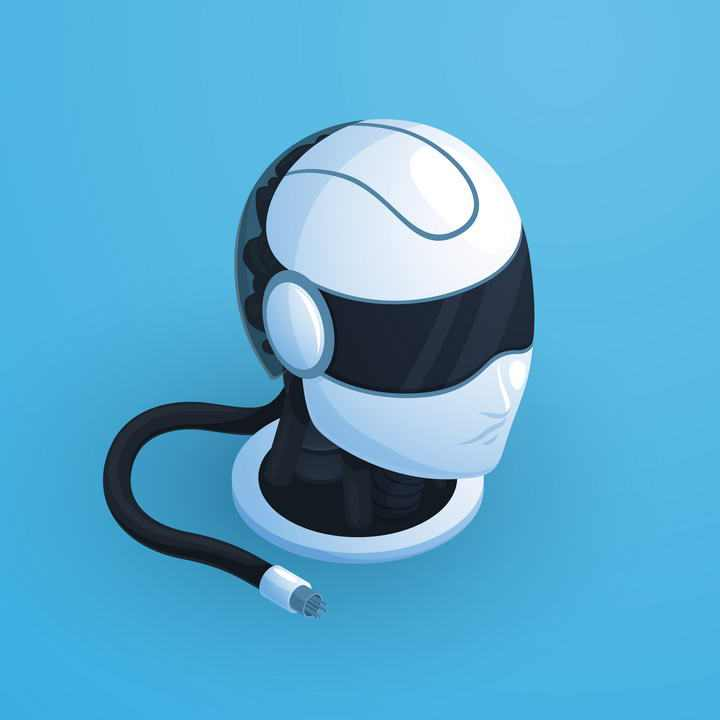 超酷的科幻风格VR眼镜机器人头部图片免抠素材