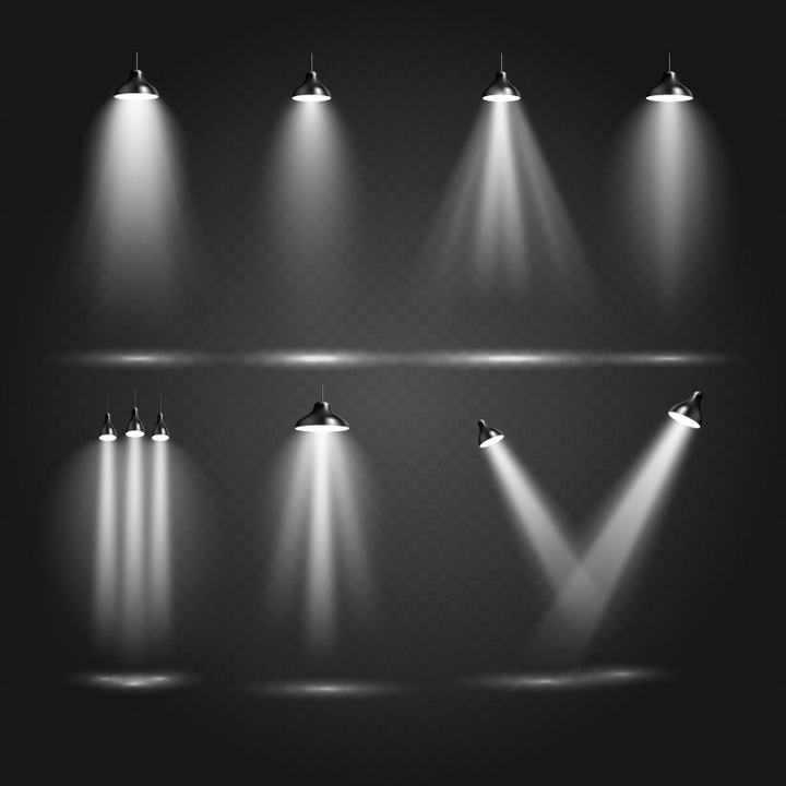 七款逼真的舞台灯光效果图片免抠素材