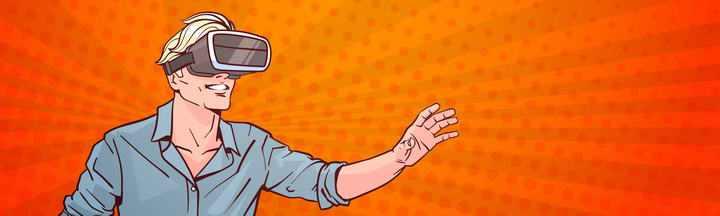 手绘美式漫画风格戴着虚拟现实VR眼镜的年轻人图片素材