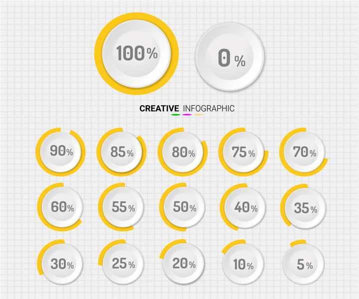 圆形按钮风格的百分比图片免抠素材