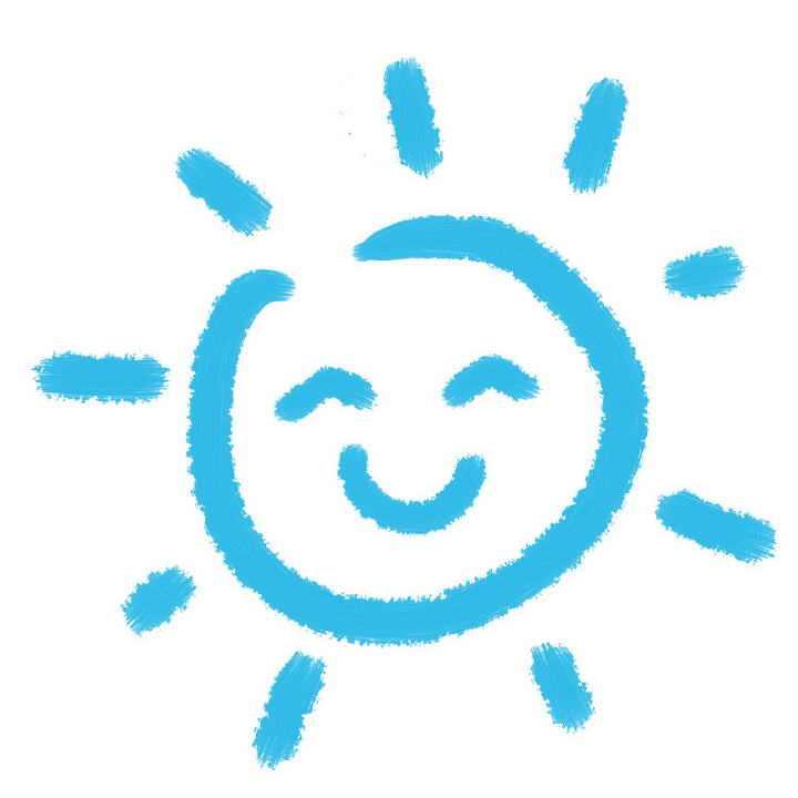 蓝色涂鸦可爱风格笑脸卡通太阳图片免抠素材
