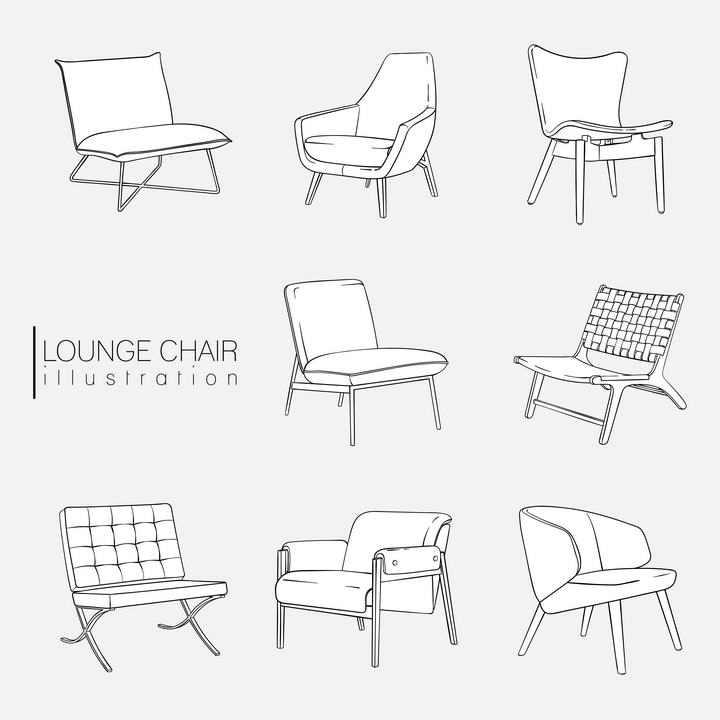 简笔画手绘风格各种椅子家具图片免抠素材