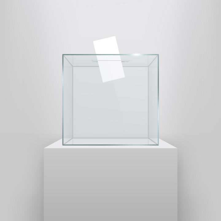 写实逼真白色展台上面的方形玻璃投票箱图片设计素材