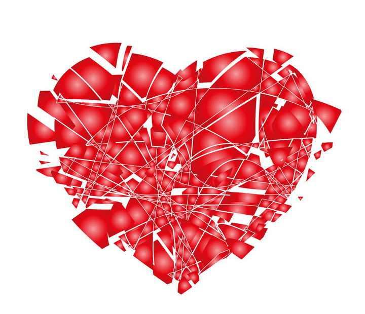 破碎四分五裂的红心心形图案失恋图片png免抠素材