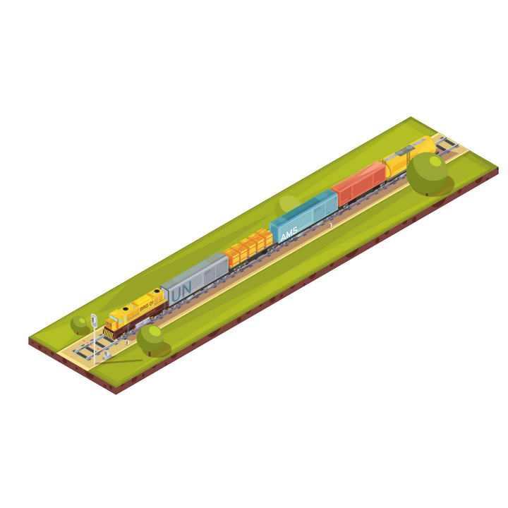 2.5D卡通风格行驶中的火车图片免抠素材