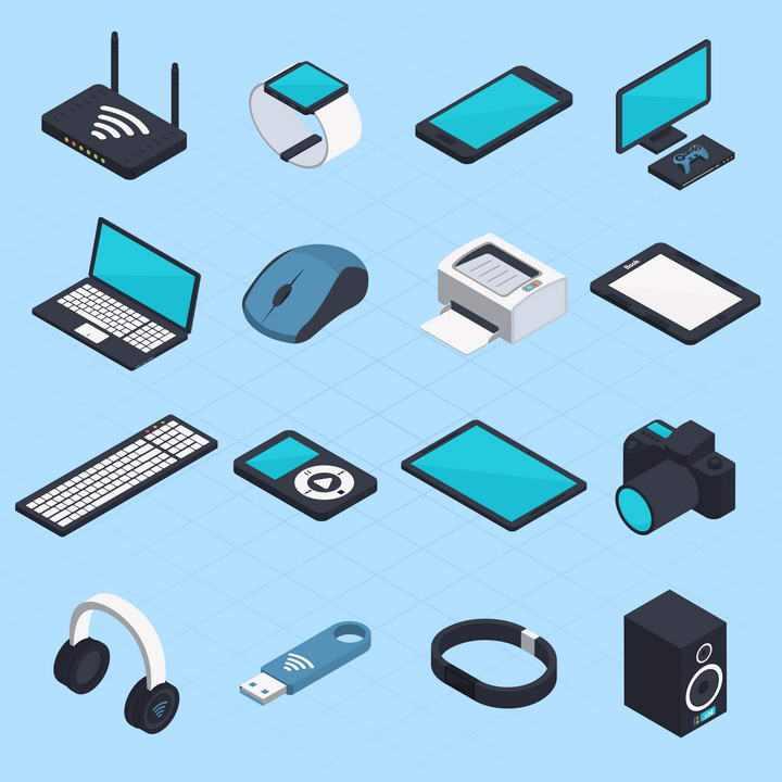 2.5D效果路由器智能手表笔记本电脑等IT数码设备图片免抠素材