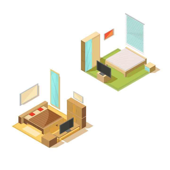 两款2.5D风格卧室布局图片免抠素材