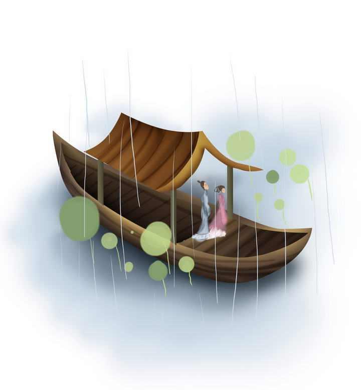 中国风彩色水墨画风格站立在木船船头的古装情侣风景图片免抠素材