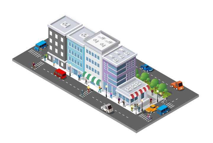 3D风格的城市街道建筑和马路图片免抠素材