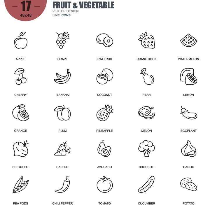 手绘线条风格各类水果icon图标图片免抠素材合集