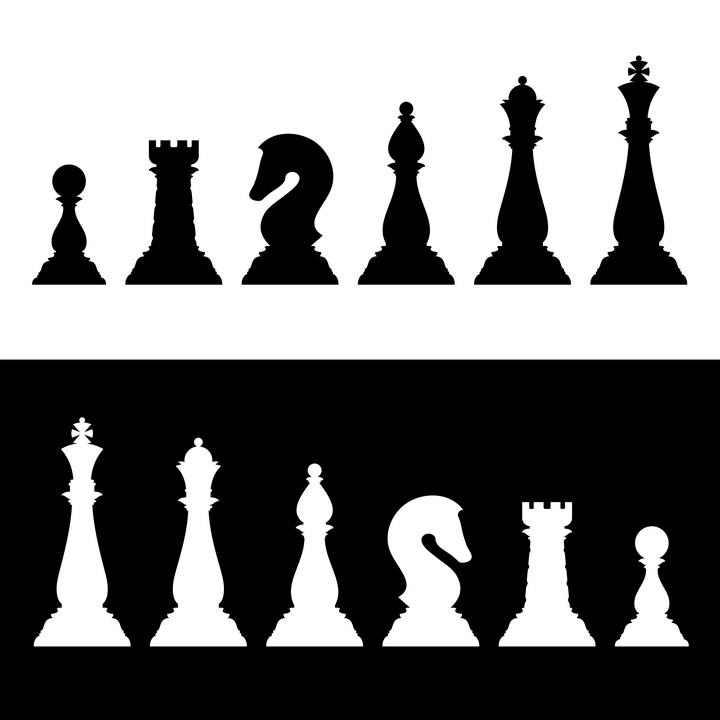 国际象棋六种棋子剪影图片免抠素材