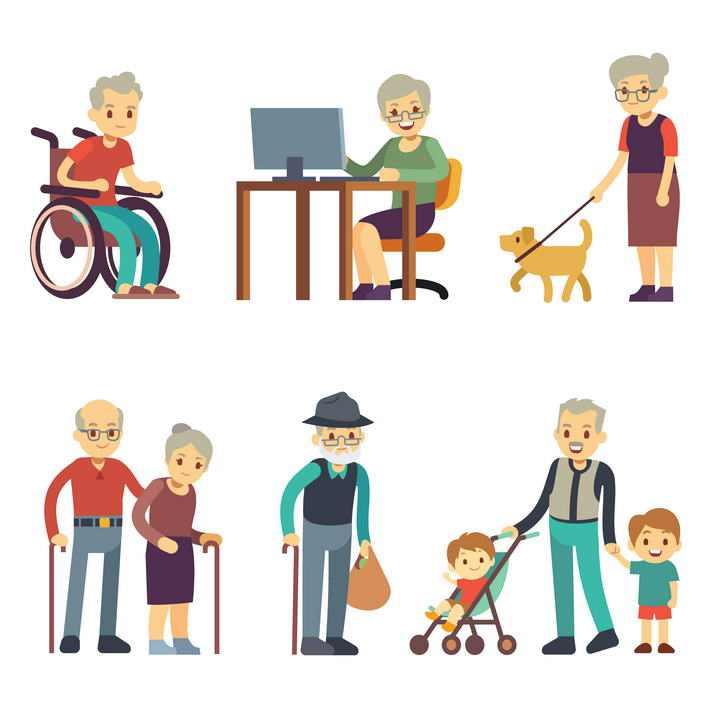 六款老年人坐轮椅遛狗等晚年日常生活图片免抠素材