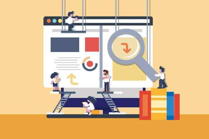 扁平化插画风格网站建设插图图片免抠素材