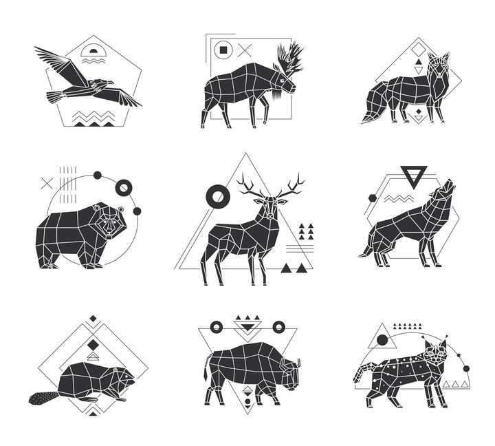 多边形组成的老鹰鹿棕熊等动物剪影图片免抠素材