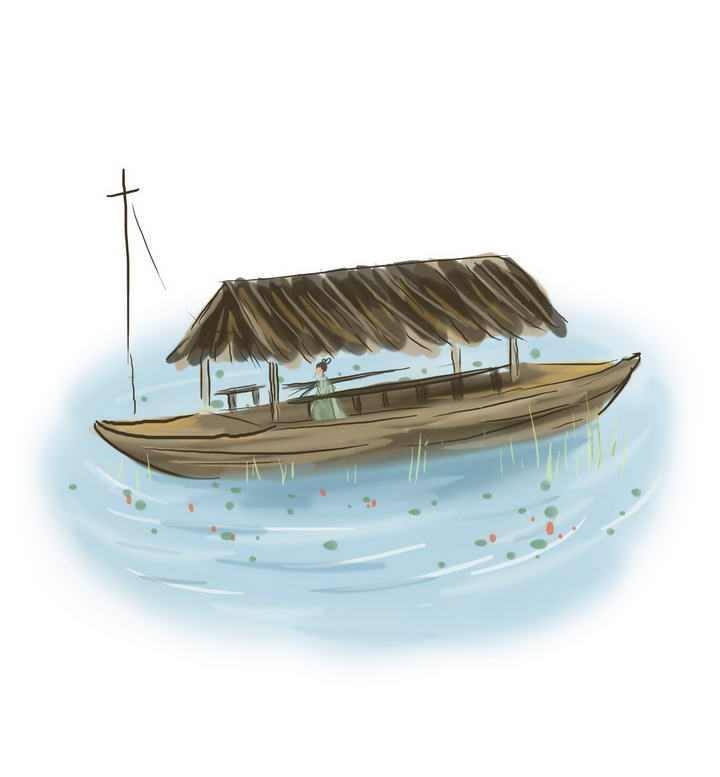 中国风彩色水墨画风格坐在木船上的古装女子图片免抠素材