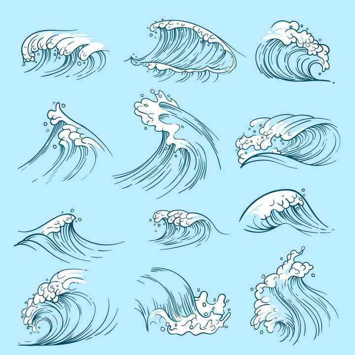 12款手绘风格的波浪浪花图片免抠素材