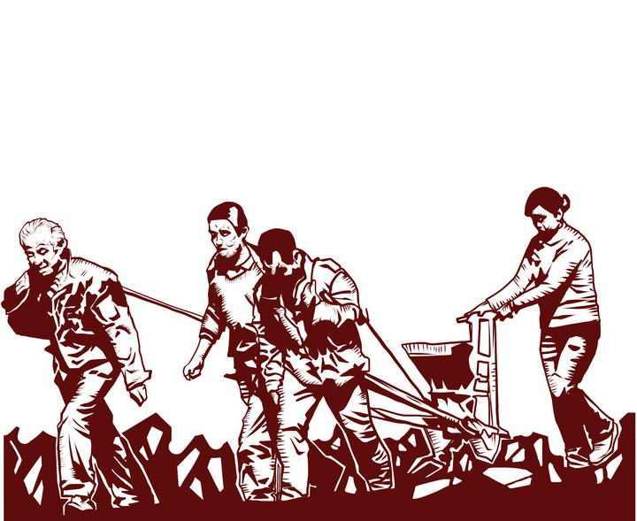在地里犁地的农民劳动节劳动人民剪影图片素材