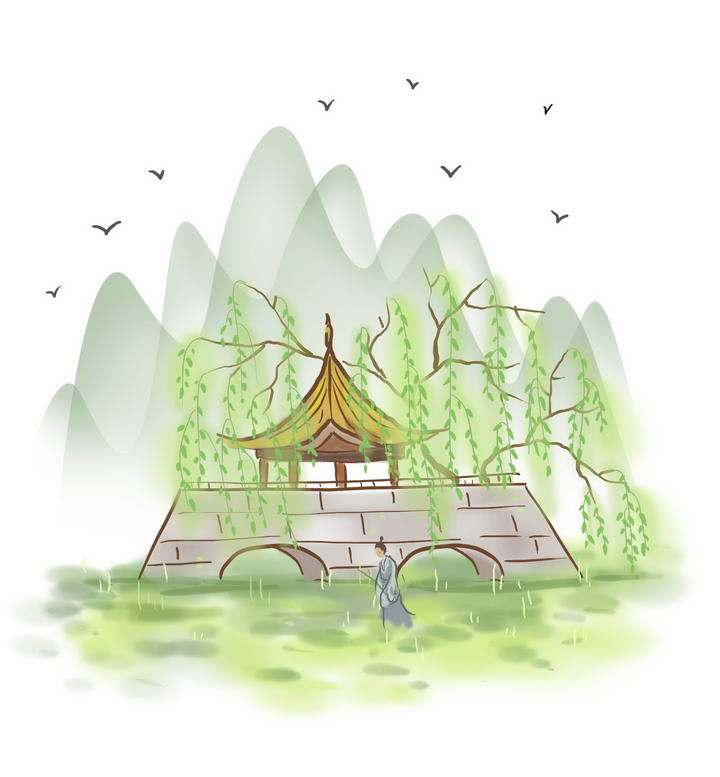 中国风彩色水墨画风格春天在亭子外草地上漫步的古装男子图片免抠素材
