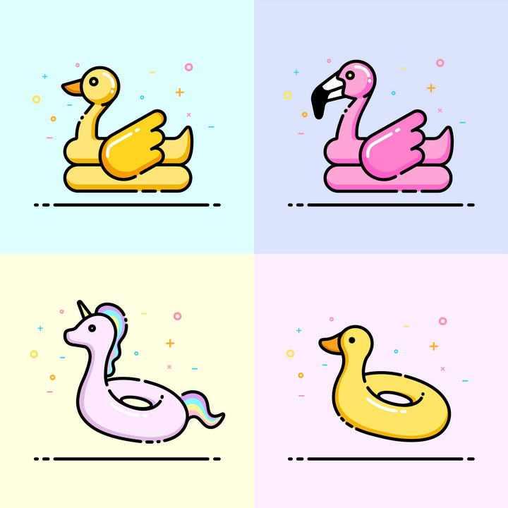 四款MBE风格游泳鸭子救生圈等热带旅游元素图标图片免抠素材