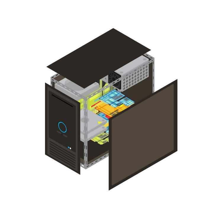 电脑主机结构分解图图片免抠素材