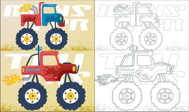 线条涂色对比汽车简笔画大脚车侧视图图片免抠素材