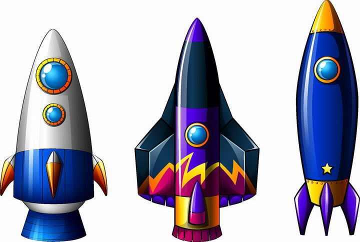 三款卡通风格的小火箭图片免抠素材