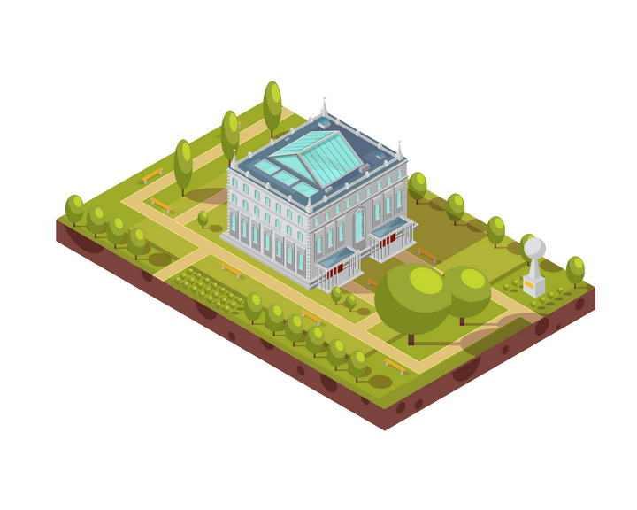 2.5D效果经典多层大厦绿色公园纪念碑图片免抠素材