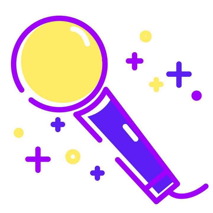 MBE风格紫色的麦克风话筒图片免抠素材