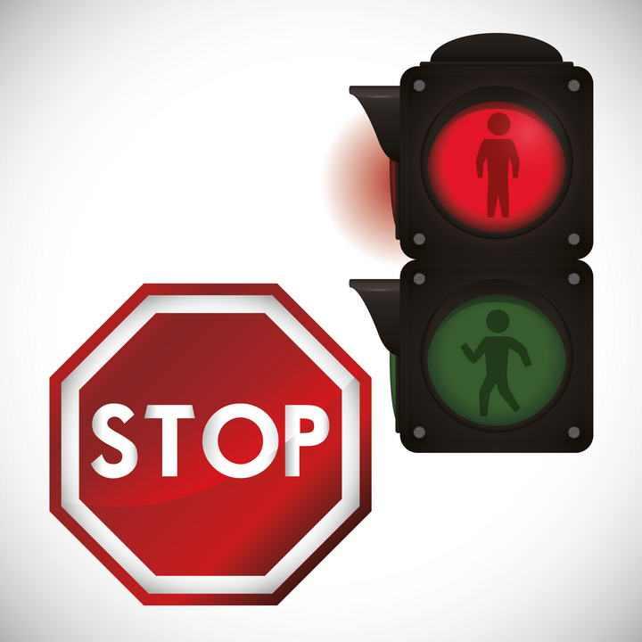 停止标志和红绿灯交通安全图片免抠素材