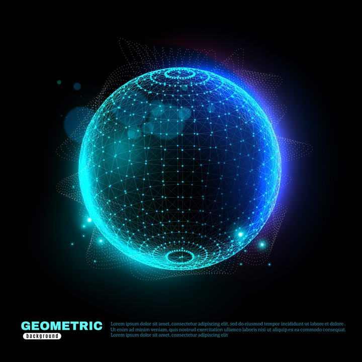 绚丽的发光粒子点线组成的圆球形状图片免抠素材
