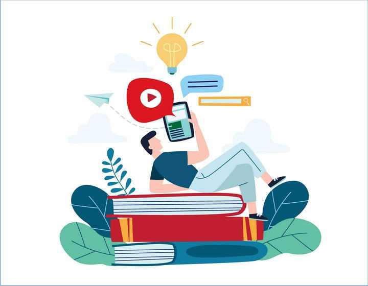 扁平化插画风格躺在书本上用平板电脑的男孩图片免抠素材