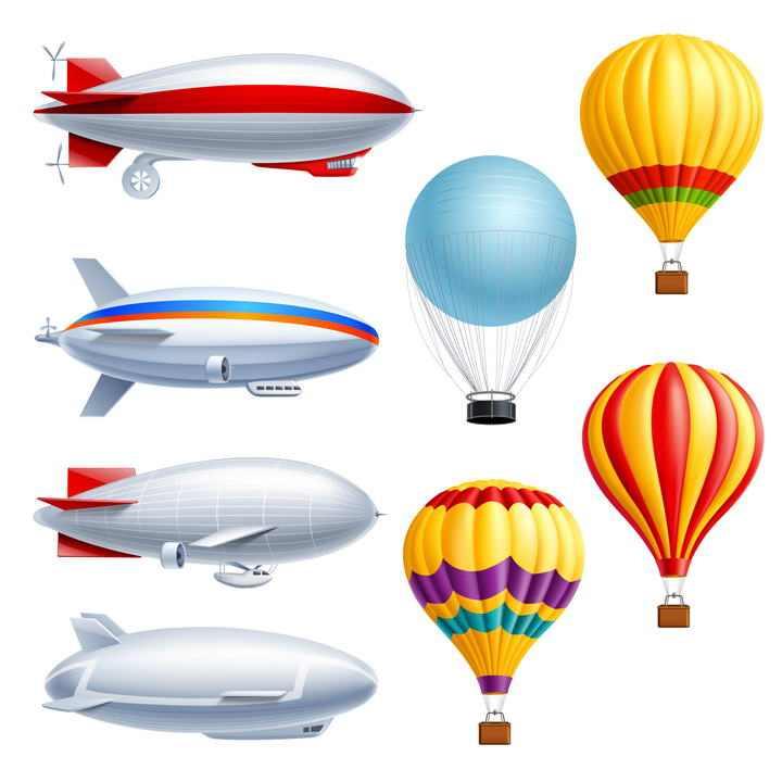 四款写实风格的飞艇和四款彩色热气球图片免抠素材