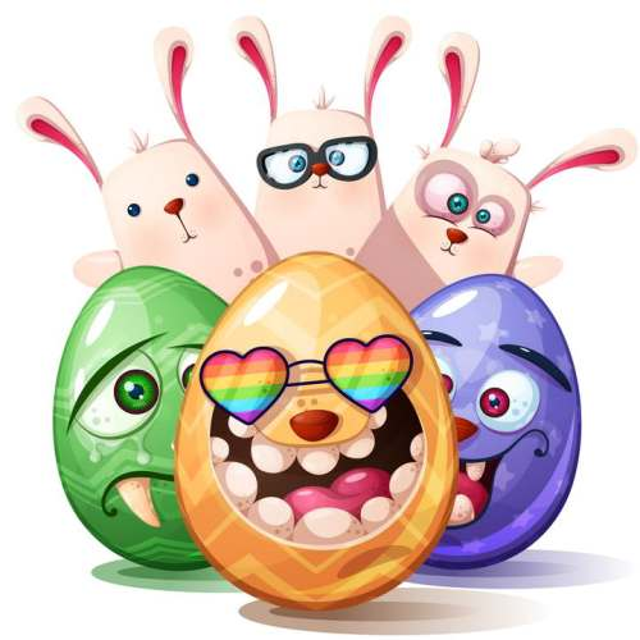 卡通可爱搞笑表情的彩蛋和兔子图片免抠素材