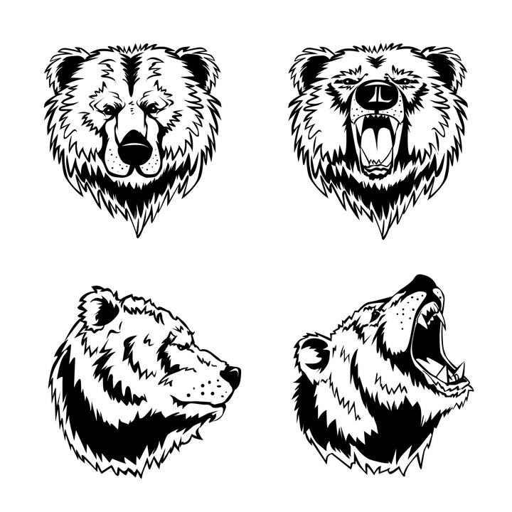 手绘线条风格棕熊头部图片免抠素材