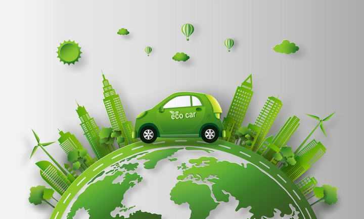 绿色节能汽车地球剪影环保主题图片免抠素材
