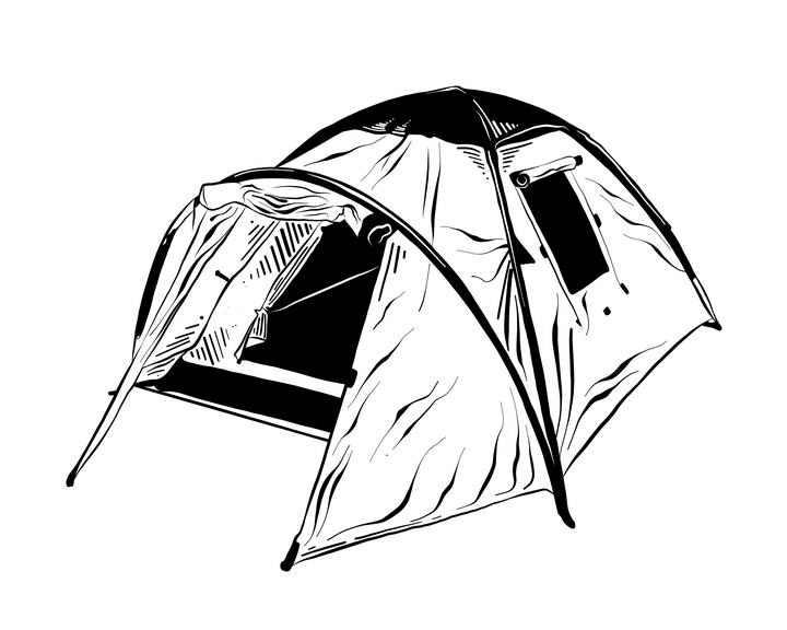 黑白手绘风格户外旅行帐篷图片免抠素材