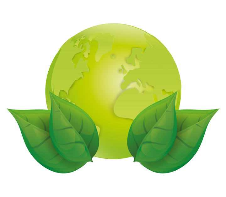 绿色的地球和树叶环保主题图片免抠素材