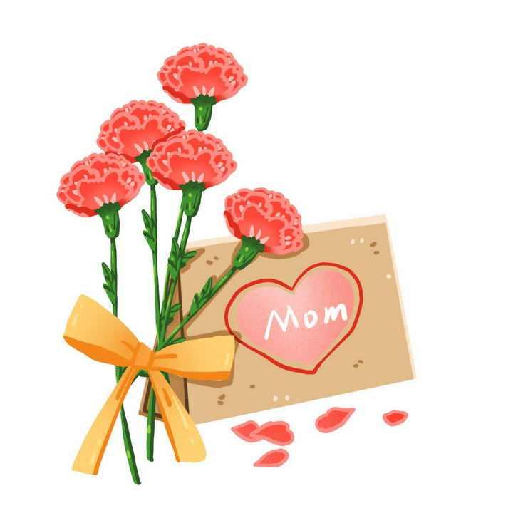 手绘风格一束康乃馨和母亲节给妈妈的信图片免抠素材