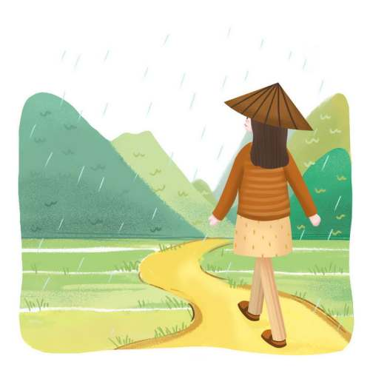 传统彩色手绘谷雨节气戴着斗笠的女孩行走在乡间小道上图片免抠素材