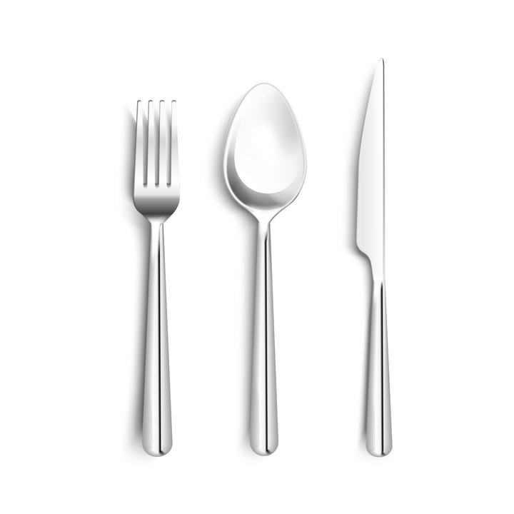 逼真的金属色叉子勺子和刀具等西餐餐具图片免抠素材