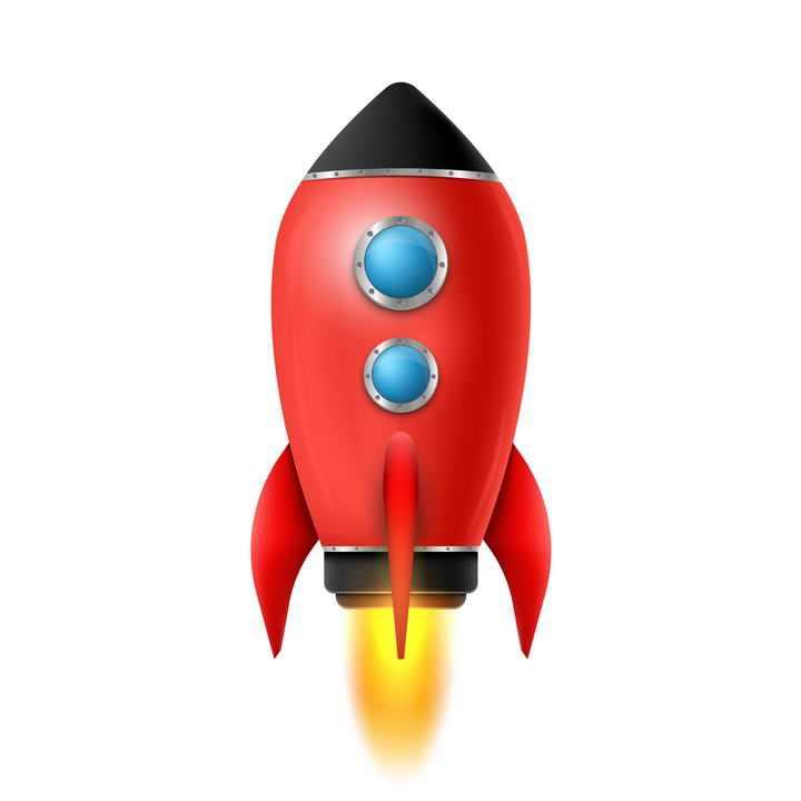 正在起飞的带两个小窗户的卡通红色小火箭图片免抠素材