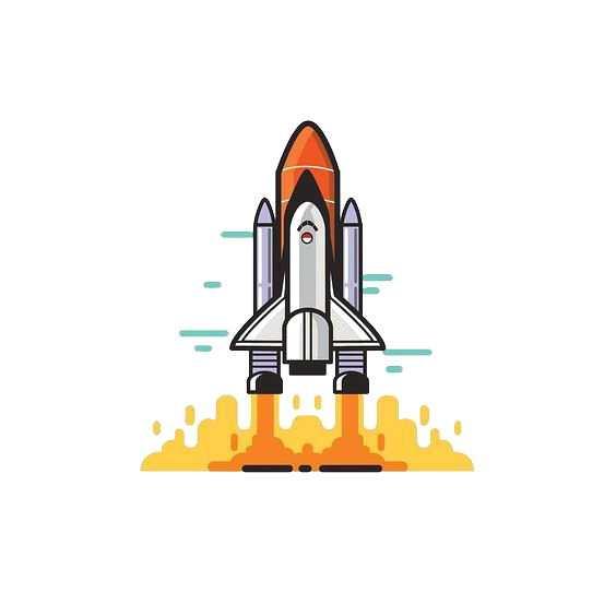 MBE风格正在起飞的火箭航天飞机图片免抠素材