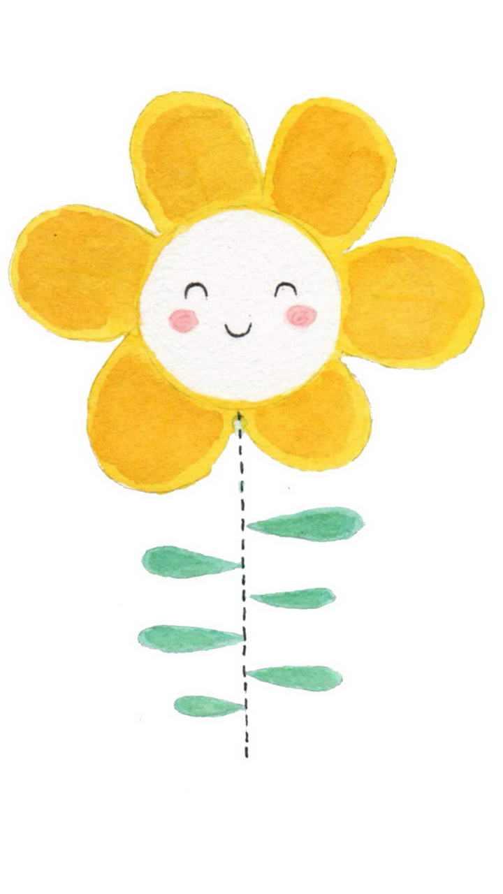 一朵可爱的手绘卡通向日葵图片免抠素材