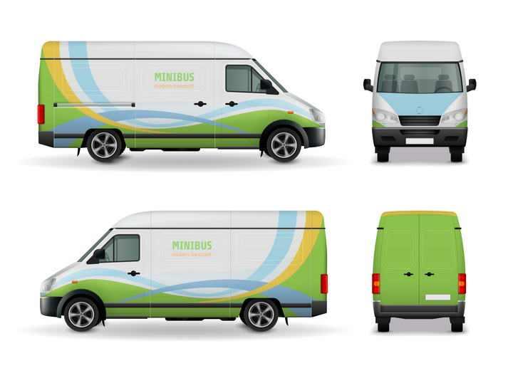 一辆彩色箱式小货车四视图图片免抠素材